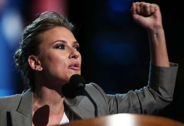 CHARLOTTE, NC - SEPTEMBER 06:  Actress Scarlett Johansson speaks on stage during the final day of the Democratic National Convention at Time Warner Cable Arena on September 6, 2012 in Charlotte, North Carolina. The DNC, which concludes today, nominated U.S. President Barack Obama as the Democratic presidential candidate.  (Photo by Chip Somodevilla/Getty Images) (Getty Images)