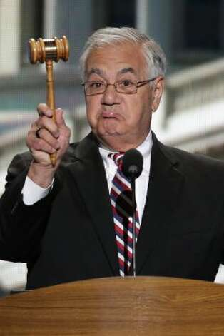 Rep. Barney Frank of Massachusetts holds up the gavel during his address to the Democratic National Convention in Charlotte, N.C., on Thursday, Sept. 6, 2012. (AP Photo/J. Scott Applewhite) (J. Scott Applewhite / Associated Press)