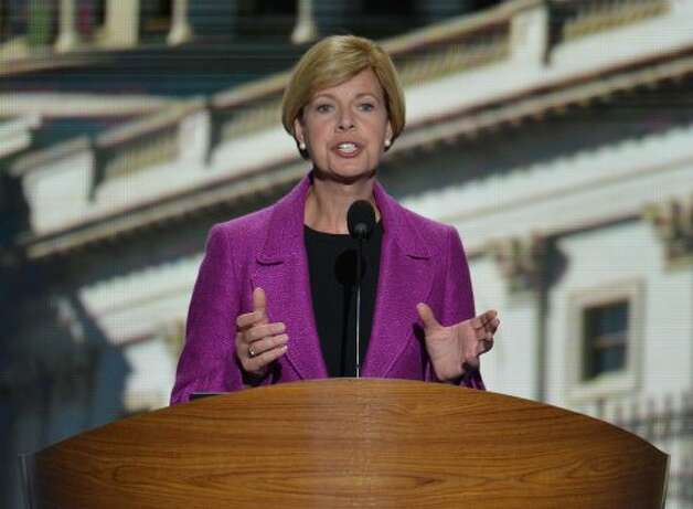 Wisconsin Congresswoman Tammy Baldwin speaks at the Time Warner Cable Arena in Charlotte, North Carolina, on September 6, 2012 on the final day of the Democratic National Convention (DNC). US President Barack Obama is expected to accept the nomination from the DNC to run for a second term as president. (STAN HONDA / AFP/Getty Images)