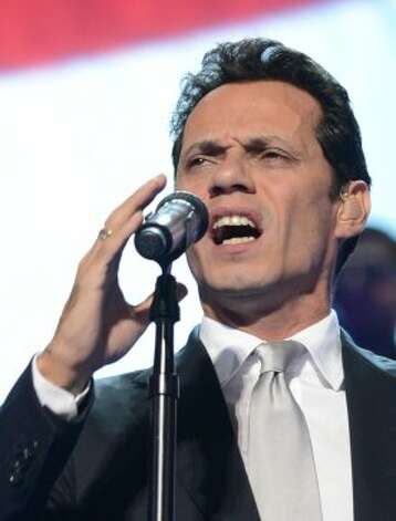 Singer Marc Anthony performs at the Time Warner Cable Arena in Charlotte, North Carolina, on September 6, 2012 on the final day of the Democratic National Convention (DNC). US President Barack Obama is expected to accept the nomination from the DNC to run for a second term as president. (ROBYN BECK / AFP/Getty Images)