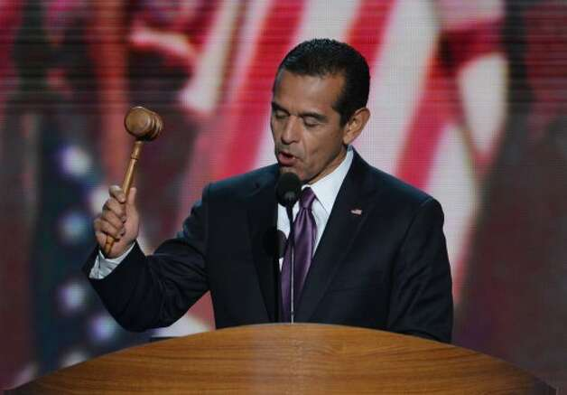 Los Angeles Mayor, Democratic Convention Chair  Antonio Villaraigosa gavels open the convention at the Time Warner Cable Arena in Charlotte, North Carolina, on September 6, 2012 on the final day of the Democratic National Convention (DNC). US President Barack Obama is expected to accept the nomination from the DNC to run for a second term as president. (STAN HONDA / AFP/Getty Images)