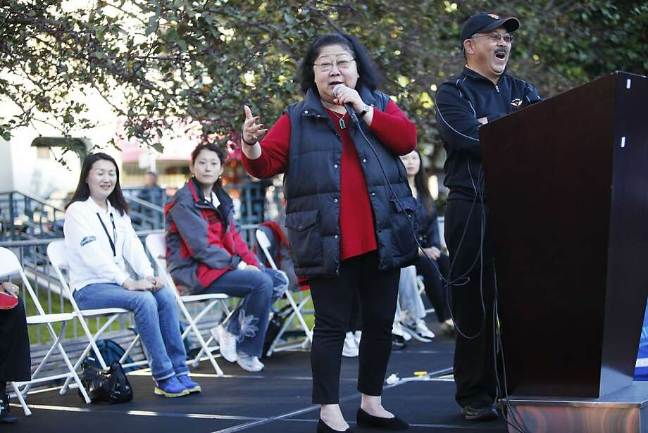 Mayor Ed Lee invites Rose Pak to speak a few words last month at a pingpong tournament in Chinatown. Photo: Sonja Och, The Chronicle