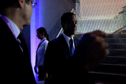 Mayor Julian Castro is directed to an interview after participating in a Bloomberg-Google Inc. panel disscusson about the potential impact of technology on jobs with the mayors of Charlotte, NC, Houston, and San Francisco, CA at the Democratic National Convention in Charlotte, NC on Thursday, Sept. 6, 2012. Photo: Lisa Krantz, San Antonio Express-News / San Antonio Express-News