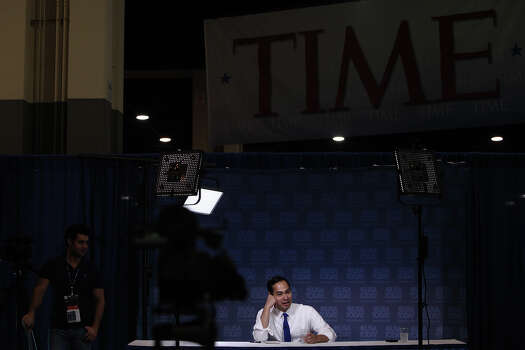Mayor Julian Castro waits for an interview with USA Today and Gannett reporters as part of their Newsmakers series to begin at the Democratic National Convention in Charlotte, NC on Thursday, Sept. 6, 2012. Photo: Lisa Krantz, San Antonio Express-News / San Antonio Express-News