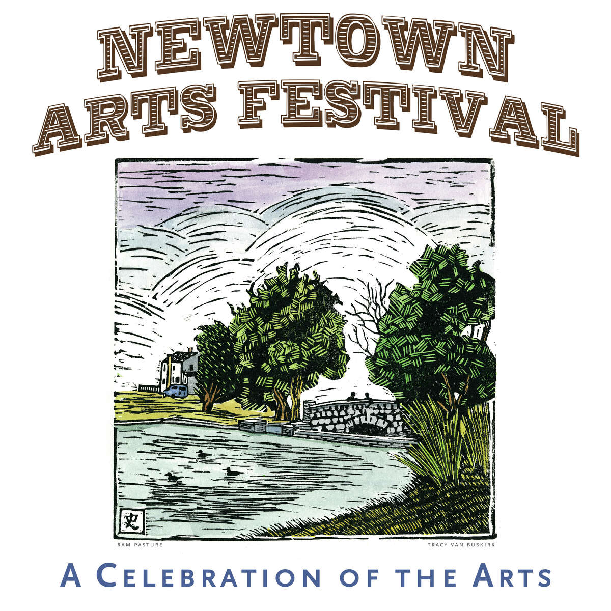 A contest was held to choose artwork for the 2012 Newtown Arts Festival poster. Here is the winning piece, created by Tracy Van Buskirk.