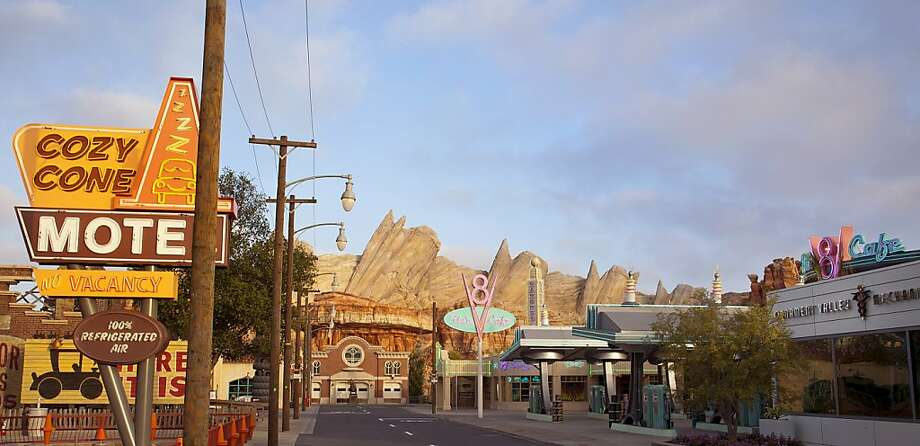 "The quaint charms of forgotten towns along Route 66 form the basis of the Pixar film ""Cars"" and the ""town"" it inspired: Radiator Springs. Photo: Paul Hiffmeyer/Disneyland Resort, Paul Hiffmeyer"
