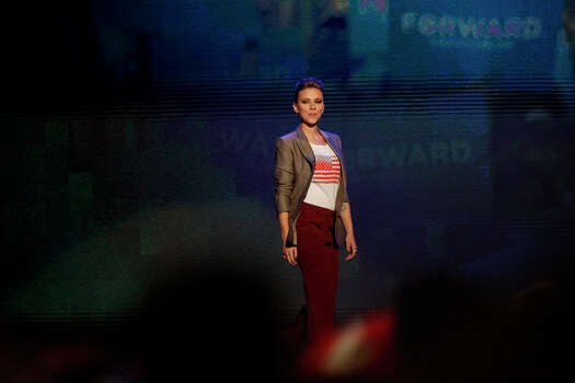 Actress Scarlett Johansson takes the stage to speak on the final night of the Democratic National Convention at Time Warner Cable Arena in Charlotte, NC on Thursday, Sept. 6, 2012. Photo: Lisa Krantz, San Antonio Express-News / San Antonio Express-News