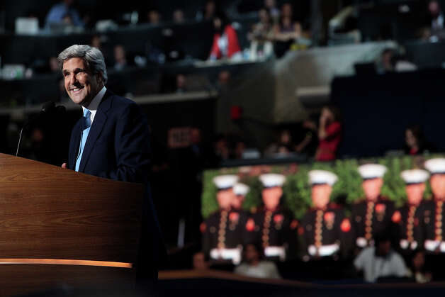 Massachusetts Senator John Kerry speaks on the final night of the Democratic National Convention at Time Warner Cable Arena in Charlotte, NC on Thursday, Sept. 6, 2012. Photo: Lisa Krantz, San Antonio Express-News / San Antonio Express-News