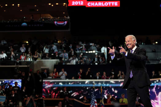Vice President Joe Biden acknowledges his supporters on the final night of the Democratic National Convention at Time Warner Cable Arena in Charlotte, NC on Thursday, Sept. 6, 2012. Photo: Lisa Krantz, San Antonio Express-News / San Antonio Express-News