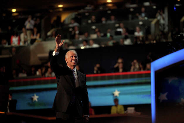 Vice President Joe Biden takes the stage for his speech on the final night of the Democratic National Convention at Time Warner Cable Arena in Charlotte, NC on Thursday, Sept. 6, 2012. Photo: Lisa Krantz, San Antonio Express-News / San Antonio Express-News