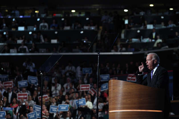 Vice President Joe Biden speaks on the final night of the Democratic National Convention at Time Warner Cable Arena in Charlotte, NC on Thursday, Sept. 6, 2012. Photo: Lisa Krantz, San Antonio Express-News / San Antonio Express-News