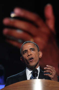 President Barack Obama speaks on the final night of the Democratic National Convention at Time Warner Cable Arena in Charlotte, NC on Thursday, Sept. 6, 2012. Photo: Lisa Krantz, San Antonio Express-News / San Antonio Express-News