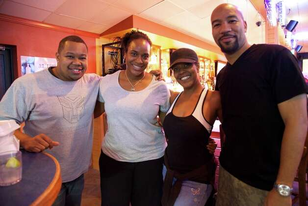 Cliff Jefferson, Renee Keys, Miss Neka, and Nathan Shepperd at Big Sam's grill and bar. Photo: Xelina Flores-Chasnoff, For The Express-News