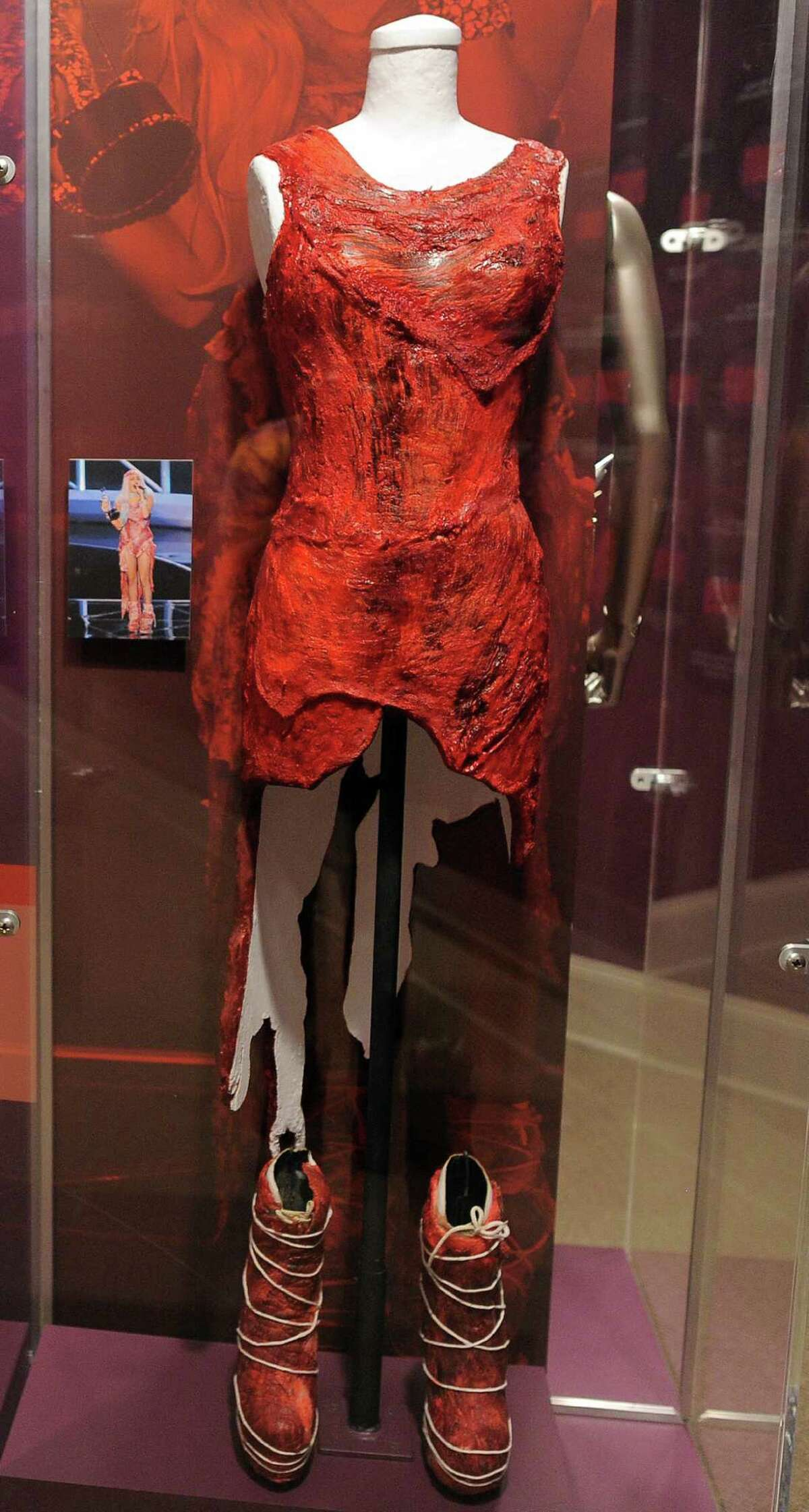 The raw meat dress worn by Lady Gaga at a 2010 awards ceremony is seen at the