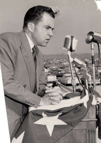Richard Nixon rallies republicans at the Jefferson County Airport in 1952. Enterprise file photo.