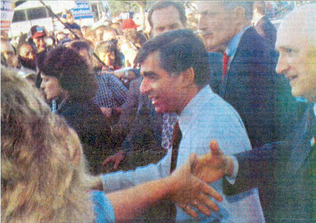 Michael Dukakis visits Nederland in October of 1988. Enterprise file photo