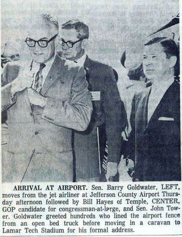 Senator Berry Goldwater poses with actor Clint Walker at the Jefferson County Airport in September of 1964. Enterprise file photo