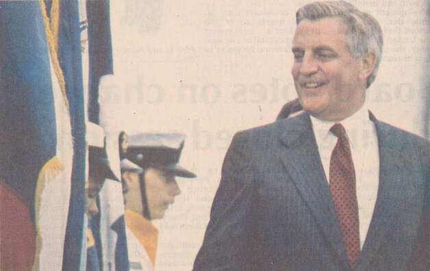Walter Mondale arrives at the Jefferson County Airport on April 28, 1984. Enterprise file photo