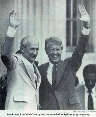 Jimmy Carter and Jack Brooks during the dedication ceremonies of the Jack Brook's Federal Courthouse in 1978. Enterprise file photo