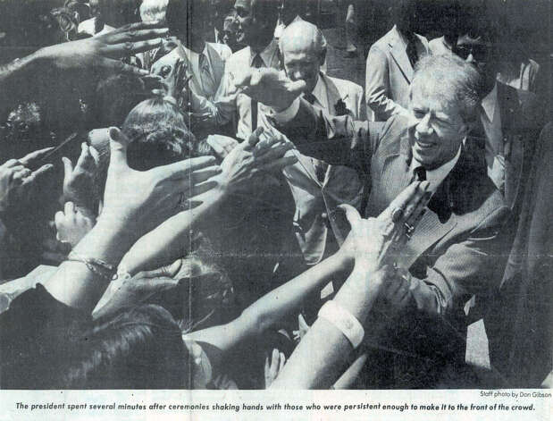 Fans reach out for President Jimmy Carter during his visit to Southeast Texas in June of 1978. Enterprise file photo