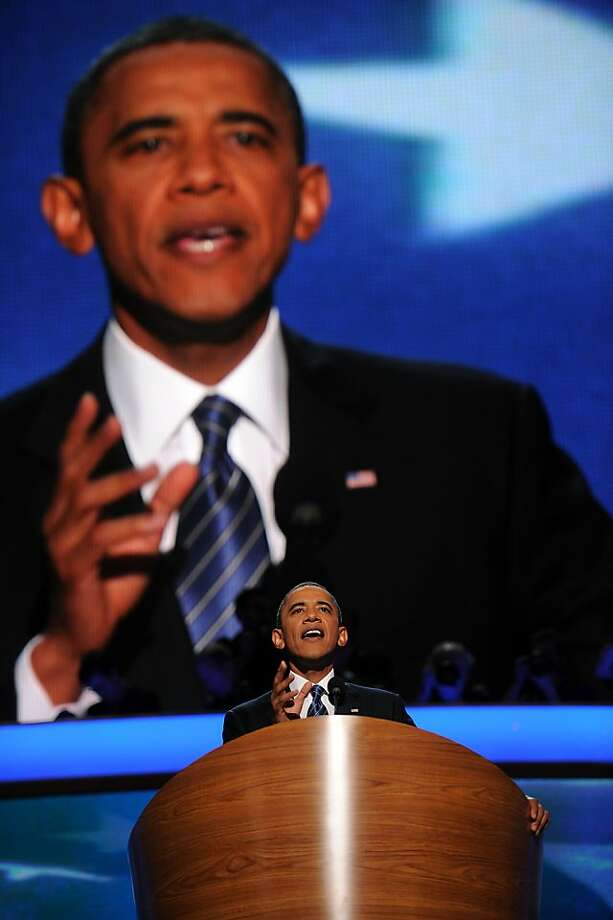 U.S. President Barack Obama gestures while speaking during day three of the Democratic National Convention (DNC) in Charlotte, North Carolina, U.S., on Thursday, Sept. 6, 2012. President Barack Obama's prime-time nomination acceptance speech tonight at the DNC is aimed at convincing voters that a slow economic recovery will accelerate if they give him a second term. Photographer: Daniel Acker/Bloomberg *** Local Caption *** Barack Obama Photo: Daniel Acker, Bloomberg
