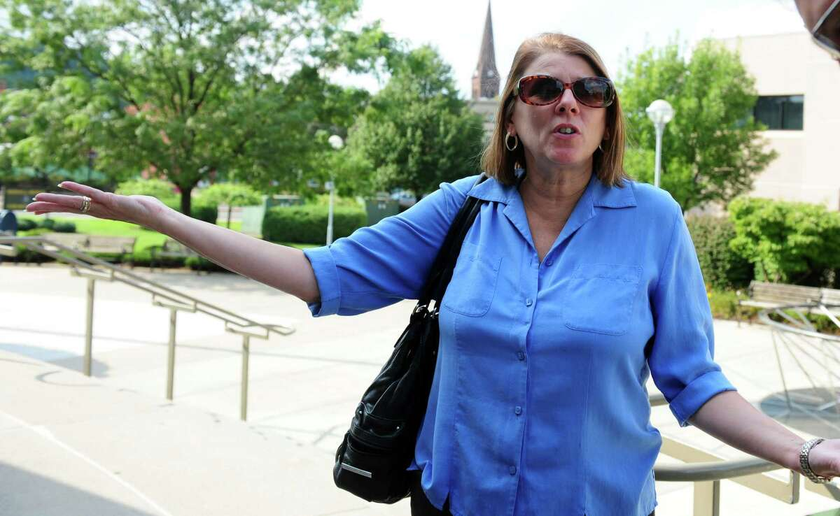 Sherri Passaro, Mary Badaracco's daughter, expresses her frustration following a hearing before the grand jury panel requesting the release of information from a grand jury proceeding about the 1984 disappearance of Mary Badaracco Friday, Sept. 7, 2012 at New Britain Superior Court.