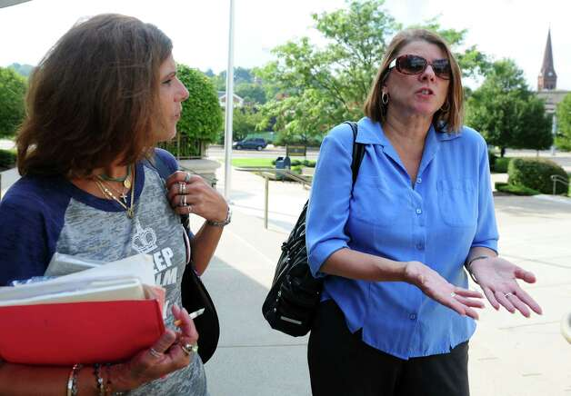 Sherri Passaro, right, Mary Badaracco's daughter, expresses her frustration following a hearing before the grand jury panel requesting the release of information from a grand jury proceeding about the 1984 disappearance of Mary Badaracco Friday, Sept. 7, 2012 at New Britain Superior Court. Photo: Autumn Driscoll / Connecticut Post