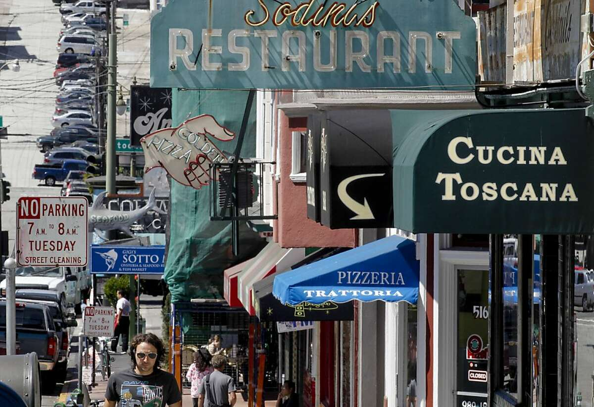 Some of the more long running businesses along Green Street near Columbus, in the North Beach neighborhood in San Francisco, Calif., on Friday September 07, 2012. The North Beach neighborhood is seeing a revival of sorts as some of the old stalwart businesses are closing. A new crop of shops, and restaurants are making it feel like a neighborhood once again.