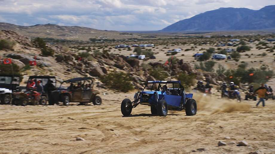 ÒSand-railÓ launches across the dunes at Ocotillo Wells State Vehicular Recreation Area in San Diego County. Frame from the PBS documentary California Forever. Photo: Backcountry Pictures, PBS