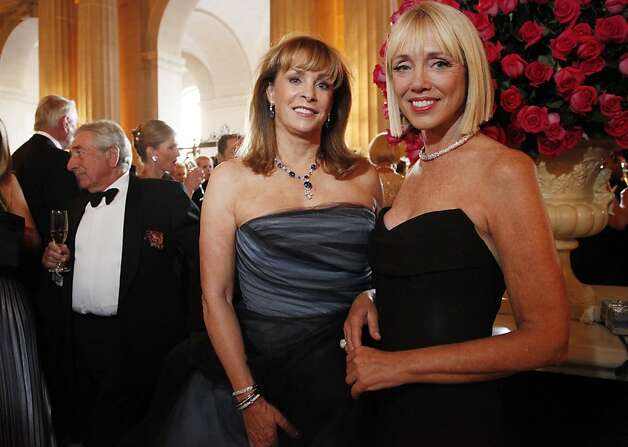 Co-Chairs of the San Francisco Opera's patron dinner Cathy MacNaughton and Diane Rubin shine at the Opera Ball celebrating the opening of the San Francisco Opera's 90th Season on Friday, Sept. 7, 2012. After cocktail hour those in attendance were entertained with Giuseppe Verdi's Rigoletto conducted by Music Director Nicola Luisotti. Photo: Alex Washburn