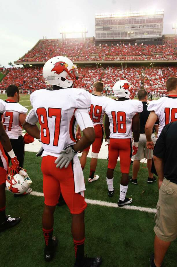 Lamar wide receiver Kelechi Ejekam on the sidelines before their game against ULL on Saturday, August 31,2012 at the University of Louisiana-Lafayette. Photo taken: Randy Edwards/The Enterprise