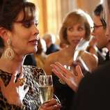 Stephanie Ejabat talks with friends at the Opera Ball celebrating the opening of the San Francisco OperaÕs 90th Season on Friday, Sept. 7, 2012. After cocktail hour those in attendance were entertained with Giuseppe VerdiÕs Rigoletto conducted by Music Director Nicola Luisotti.