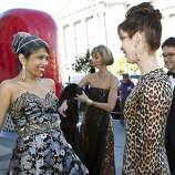 Deepa Pakianathan (left) talks with Stephanie Ejabat after arriving for cocktail hour at the San Francisco Opera Opening Night Gala at War Memorial Opera House in San Francisco, Calf., on Friday, September 7, 2012.
