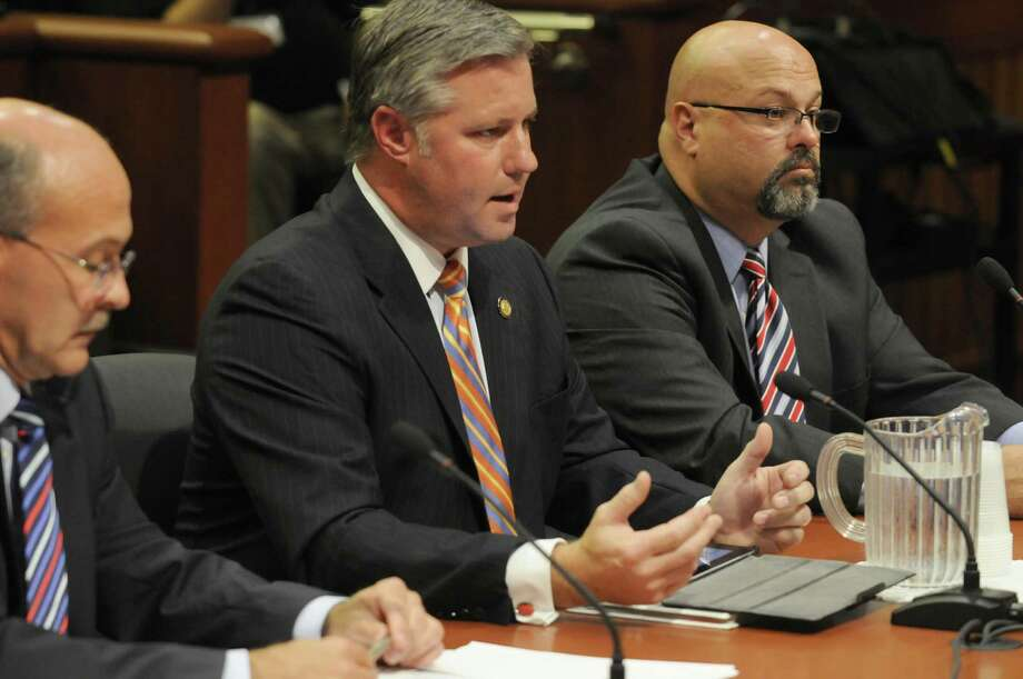 Thomas J. Madison Jr., Executive Director of the New York State Thruway Authority, center, speaks during a Assembly hearing on the finances and operations of his agency at the Capitol in Albany, NY Friday Sept. 7, 2012. (Michael P. Farrell/Times Union) Photo: Michael P. Farrell