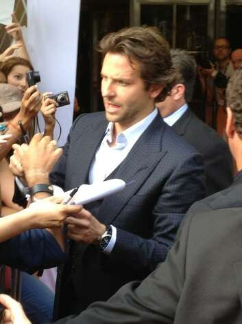 "Bradley Cooper at Toronto International Film Festival on Friday, Sept. 7, 2012 at the premiere of ""The Place Beyond the Pines,"" a film set in Schenectady and shot in the Capital Region. (Paul Grondahl/Times Union)"