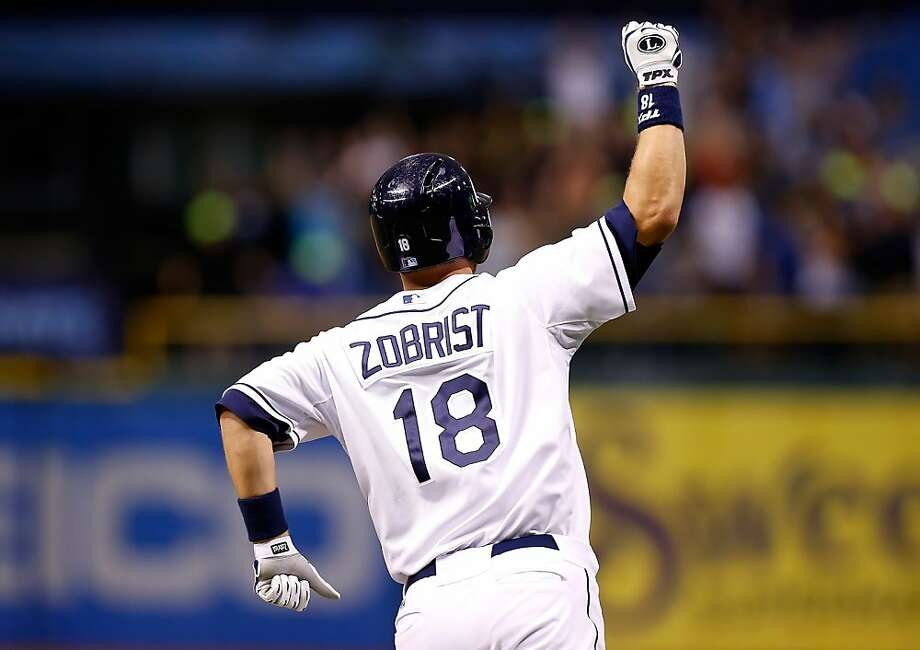 Infielder Ben Zobrist #18 of the Tampa Bay Rays celebrates his walk off home run against the Texas Rangers. Photo: J. Meric, Getty Images