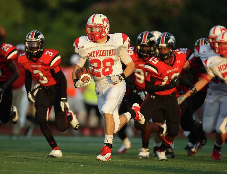 Memorial's Matt Collins (28) leaves the Westfield defense behind en route to a 50-yard touchdown during the first half of a high school football game, Friday, September 7, 2012 at George Stadium in Spring, TX. Photo: Eric Christian Smith, For The Chronicle