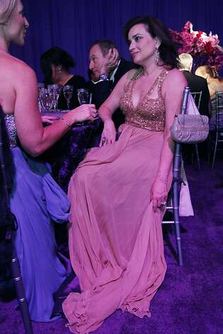 Dolly Chammas chats with a friend during dinner at the Opera Ball celebrating the opening of the San Francisco OperaÕs 90th Season on Friday, Sept. 7, 2012. After cocktail hour those in attendance were entertained with Giuseppe VerdiÕs Rigoletto conducted by Music Director Nicola Luisotti. Photo: Alex Washburn