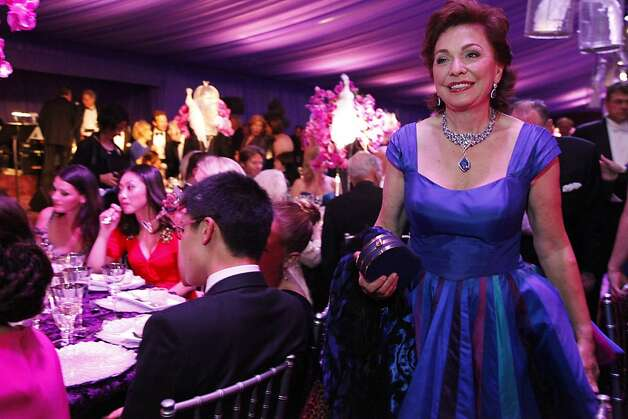 Maria Manetti Shrem makes her way through the dinner tent at the San Francisco Opera Ball celebrating the opening of the San Francisco Opera's 90th Season on Friday, Sept. 7, 2012. After cocktail hour those in attendance were entertained with Giuseppe Verdi's Rigoletto conducted by Music Director Nicola Luisotti. Photo: Alex Washburn
