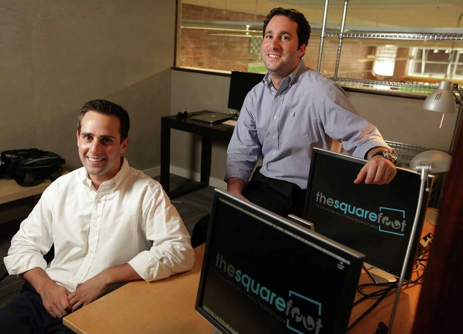 Aron Susman, left, and Justin Lee, two of the founders of TheSquareFoot, match small businesses in Houston with office and commercial space online. The site has 2,500 listings from 15 landlords. Photo: Mayra Beltran / © 2012 Houston Chronicle