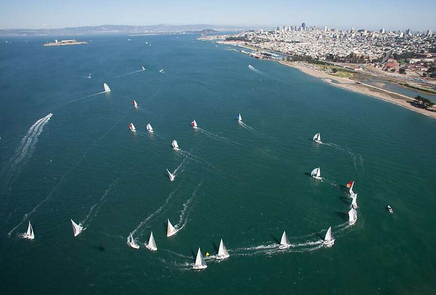A fleet of sailboats covers a potion of San Francisco Bay as they compete in the Rolex Big Boat Series Friday Sept. 7, 2012. The 48th edition of the annual event has just completed Day Two of racing and continues though Sunday.