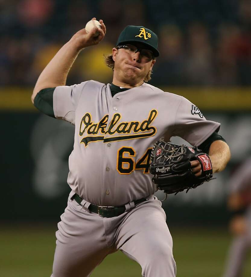 SEATTLE, WA - SEPTEMBER 07:  Starting pitcher A.J. Griffin #64 of the Oakland Athletics pitches against the Seattle Mariners at Safeco Field on September 7, 2012 in Seattle, Washington.  (Photo by Otto Greule Jr/Getty Images) Photo: Otto Greule Jr, Getty Images