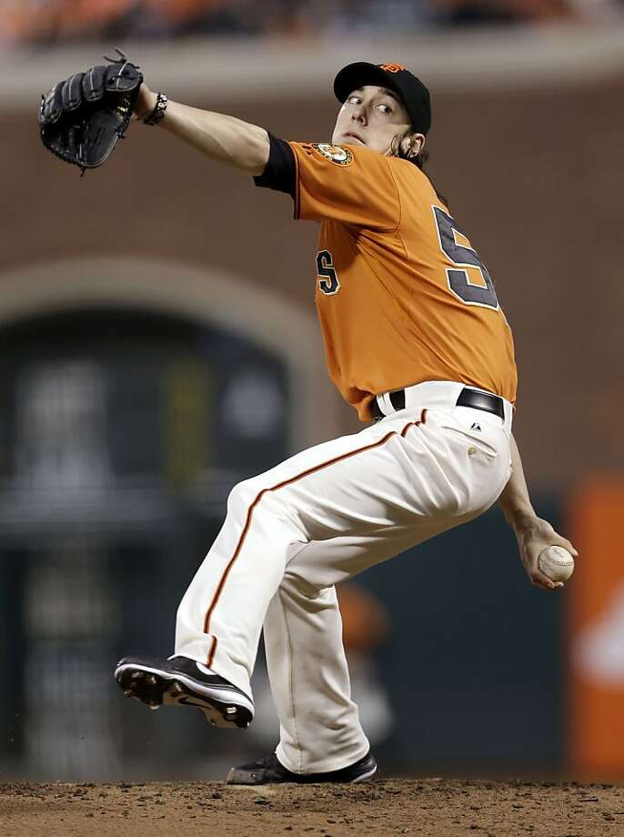 San Francisco Giants starting pitcher Tim Lincecum throws to the Los Angeles Dodgers during the second inning of a baseball game Friday, Sept. 7, 2012, in San Francisco. (AP Photo/Marcio Jose Sanchez) Photo: Marcio Jose Sanchez, Associated Press