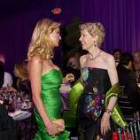 Paula Carano (left) talks with Barbara Brookins-Schneider in the dinner tent during the San Francisco Opera Opening Night Gala at War Memorial Opera House in San Francisco, Calf., on Friday, September 7, 2012.