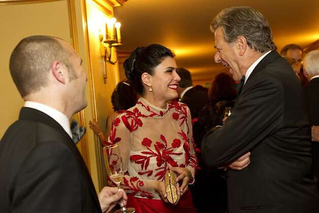 Paul Miller, Afsaneh Akhtari and Paul Pelosi (left to right) chat during intermission during the San Francisco Opera Opening Night Gala at War Memorial Opera House in San Francisco, Calf., on Friday, September 7, 2012. Photo: Laura Morton, Special To The Chronicle