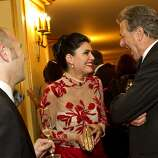 Paul Miller, Afsaneh Akhtari and Paul Pelosi (left to right) chat during intermission during the San Francisco Opera Opening Night Gala at War Memorial Opera House in San Francisco, Calf., on Friday, September 7, 2012.