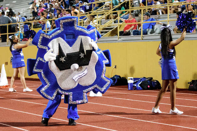 Vok, the Lanier mascot, dances in front of the stands during their game with Harlandale at Harlandale Memorial Stadium on Sept. 7, 2012.  MARVIN PFEIFFER/ mpfeiffer@express-news.net Photo: MARVIN PFEIFFER, Express-News / Express-News 2012
