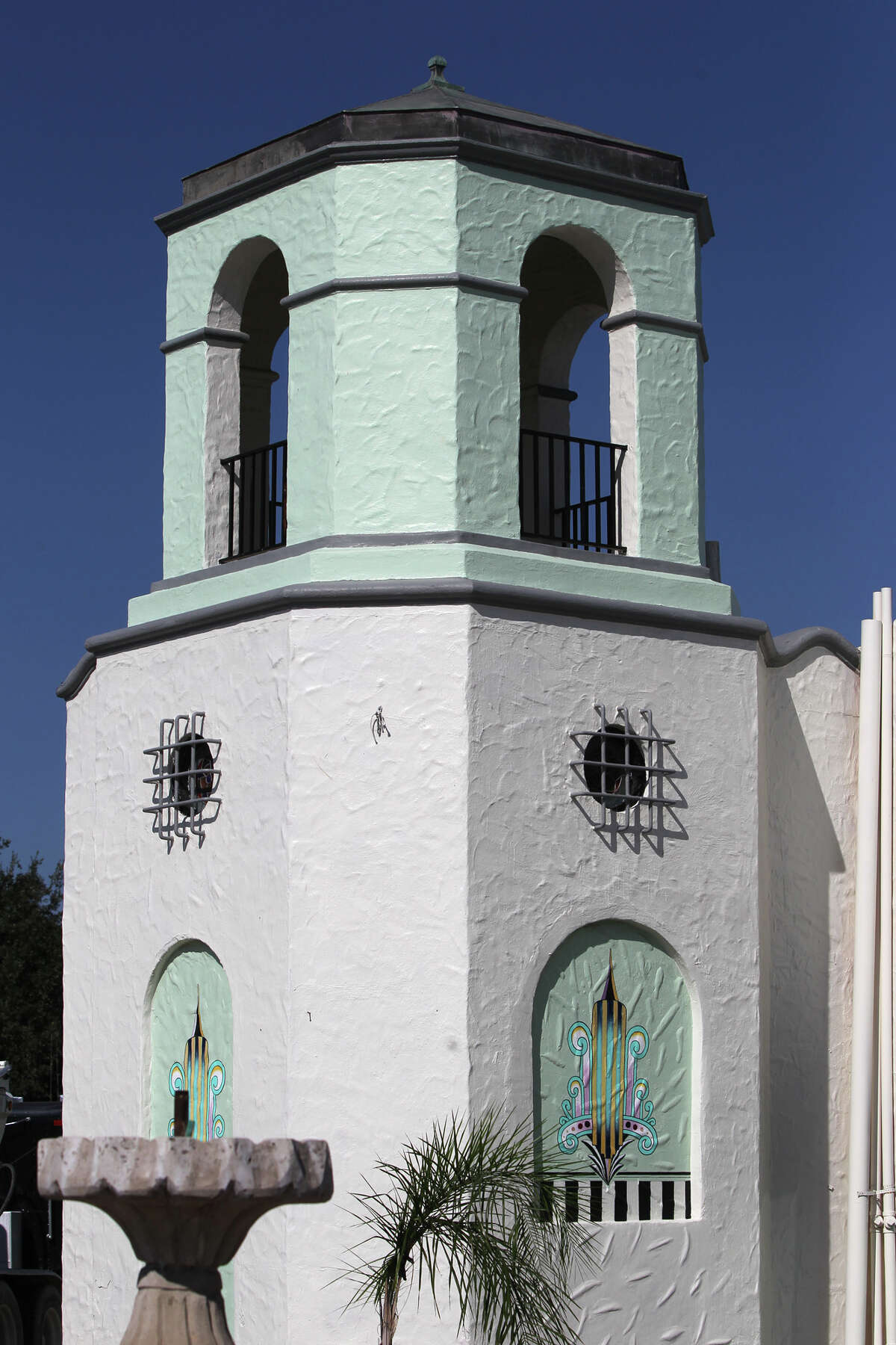 This is a small tower connected to the Deco Pizzeria at 1815 Fredericksburg Road. The pizzeria's owner, Jacob Valenzuela, says the building awaits City Council action on historic landmark designation. A former 1938 gas station, the bulding resembles a mini Spanish mission and has an enclosed dining area where gas pumps once stood.