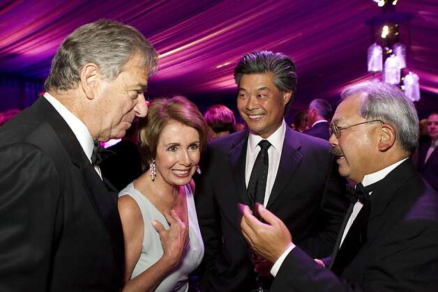 Paul Pelosi, Nancy Pelosi, Rodney Fong and San Francisco Mayor Ed Lee (left to right) talk before sitting down to dinner during the San Francisco Opera Opening Night Gala at War Memorial Opera House in San Francisco, Calf., on Friday, September 7, 2012. Photo: Laura Morton, Special To The Chronicle