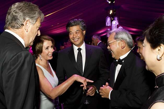 Paul Pelosi, Nancy Pelosi, Rodney Fong, San Francisco Mayor Ed Lee and Anita Lee (left to right) talk before sitting down to dinner during the San Francisco Opera Opening Night Gala at War Memorial Opera House in San Francisco, Calf., on Friday, September 7, 2012. Photo: Laura Morton, Special To The Chronicle
